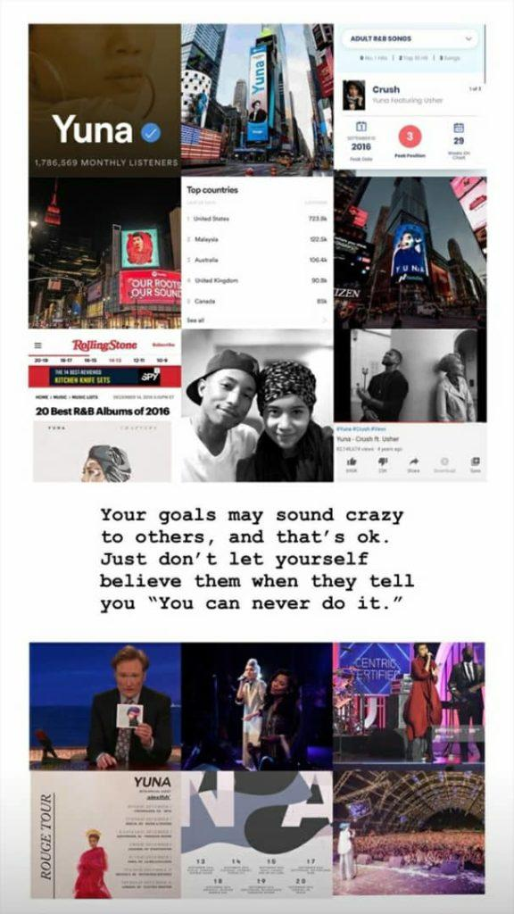 Yuna shares a subsequent Instagram story compiling her moments of success. Photo: Instagram @yuna