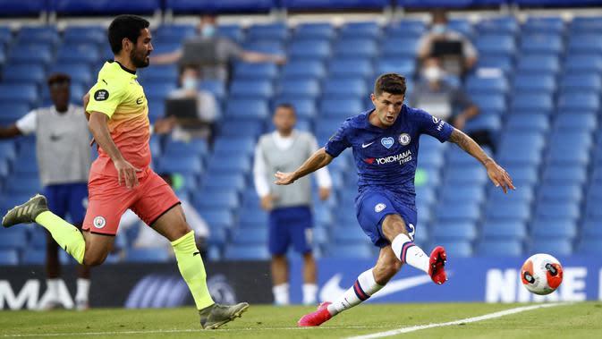Christian Pulisic mencetak gol saat Chelsea melawan Man City (AP)