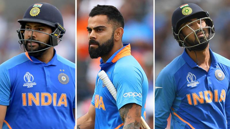 Rohit Sharma, Virat Kohli and KL Rahul all fell for just one run apiece. Pic: Getty