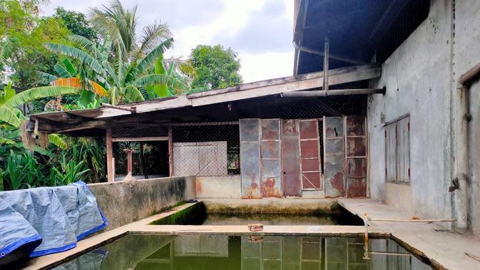 Air hujan ditampung di bak penampung yang digunakan untuk produksi mi sohun merk Ayam Jago di Kabupaten Banyuasin Sumsel (Liputan6.com / Nefri Inge)