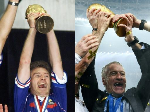 Didier Deschamps won the World Cup as a player in 1998 (left) and as a coach in 2018