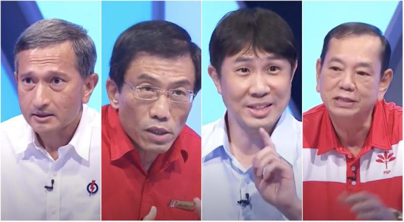 (From left to right): PAP's Vivian Balakrishnan, SDP's Chee Soon Juan, WP's Jamus Lim and PSP's Francis Yuen. (SCREENCAPS: CNA)