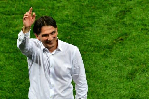 Zlatko Dalic celebrates after Croatia's semi-final win against England