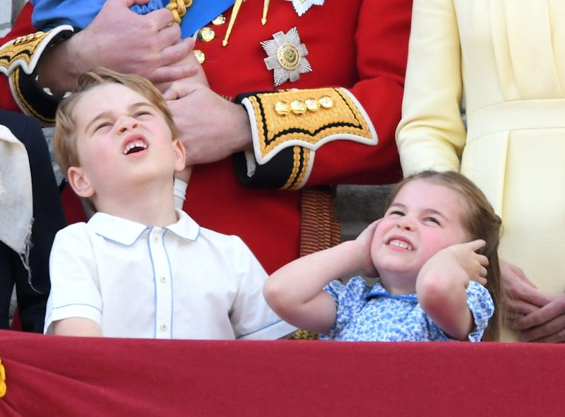Prince George and Princess Charlotte pictured on the balcony during Trooping The Colour 2019