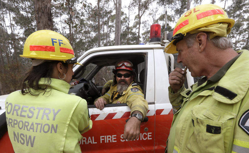 Forestry Corporation workers Dale McLean, right, and Holly James eat a moth larvae called a witchetty grub offered to them by firefighter Mick Stain, center, as they help patrol a controlled fire as they work at building a containment line at a wildfire near Bodalla, Australia, Sunday, Jan. 12, 2020. Authorities are using relatively benign conditions forecast in southeast Australia for a week or more to consolidate containment lines around scores of fires that are likely to burn for weeks without heavy rainfall. (AP Photo/Rick Rycroft)