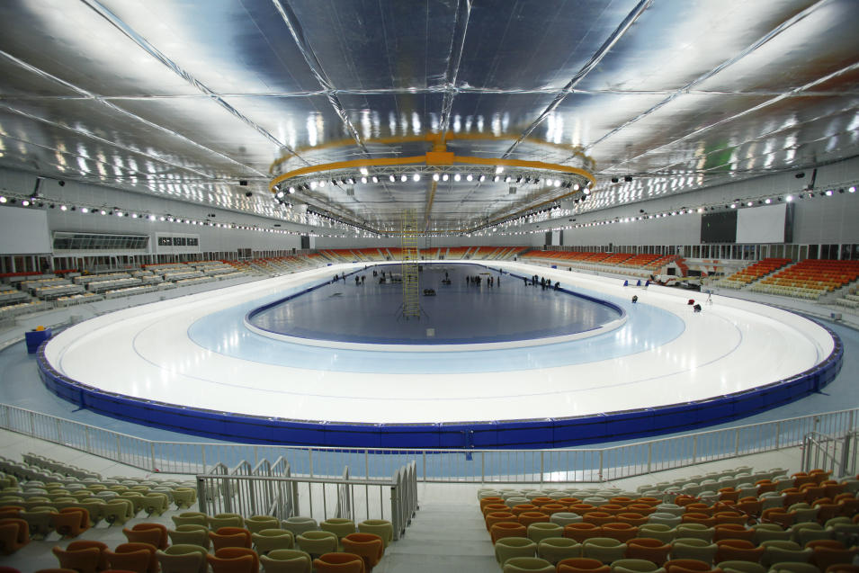 FOR STORY RUSSIA SOCHI YEAR TO GO - In this photo dated Wednesday, Jan. 30, 2013,  The  inside view of the Adler-arena speed skating venue at the Russian Black Sea resort of Sochi, with just one year till the opening ceremony of the winter Olympic 2014 Sochi Games.  The Black Sea resort of Sochi is a vast construction site sprawling for nearly 40 kilometers (25 miles) along the coast and 50 kilometers (30 miles) up into the mountains, with no escape from the clang and clatter of the construction works, the drilling, jack-hammering and mixing of cement. (AP Photo/Igor Yakunin)