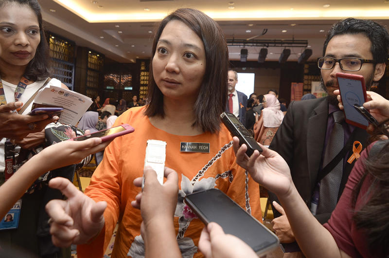 Women, Family and Children Development Deputy Minister Hannah Yeoh speaks to reporters after opening a forum on sexual harassment in Putrajaya December 7, 2018. — Picture by Miera Zulyana