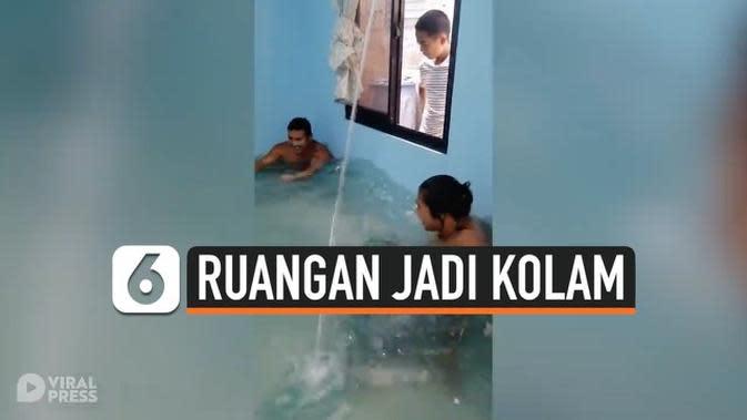 VIDEO: Pemuda Sulap Ruang Tamu Rumah Jadi Kolam Renang