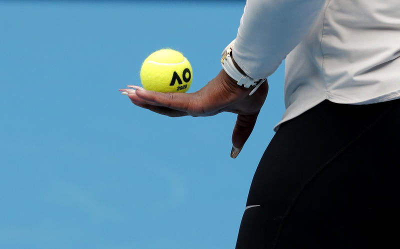 United States' Serena Williams prepares to serve during a practice session ahead of the Australian Open tennis championship in Melbourne, Australia, Friday, Jan. 17, 2020. (AP Photo/Lee Jin-man)