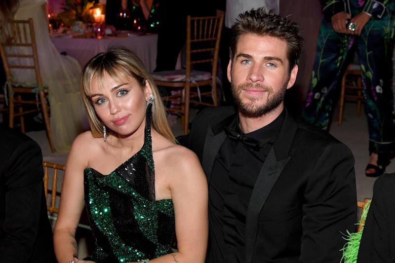 Miley Cyrus and Liam Hemsworth attend The 2019 Met Gala Celebrating Camp: Notes on Fashion at Metropolitan Museum of Art on May 06, 2019 in New York City. (Photo by Kevin Mazur/MG19/Getty Images for The Met Museum/Vogue)