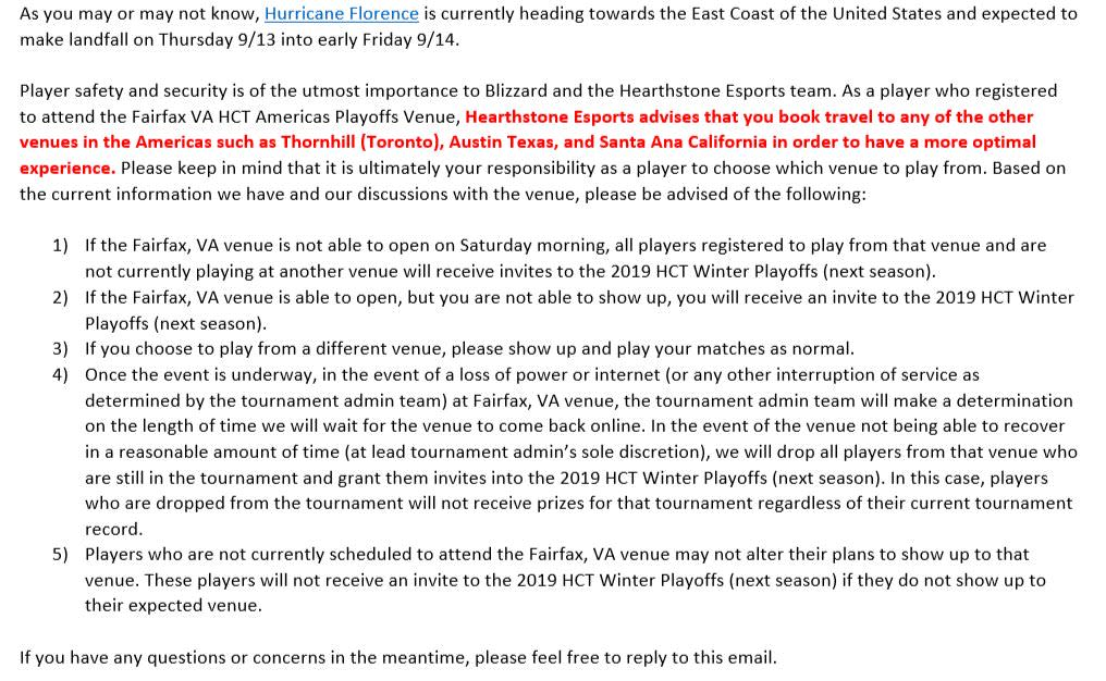 暴雪寄給出賽選手信件。
