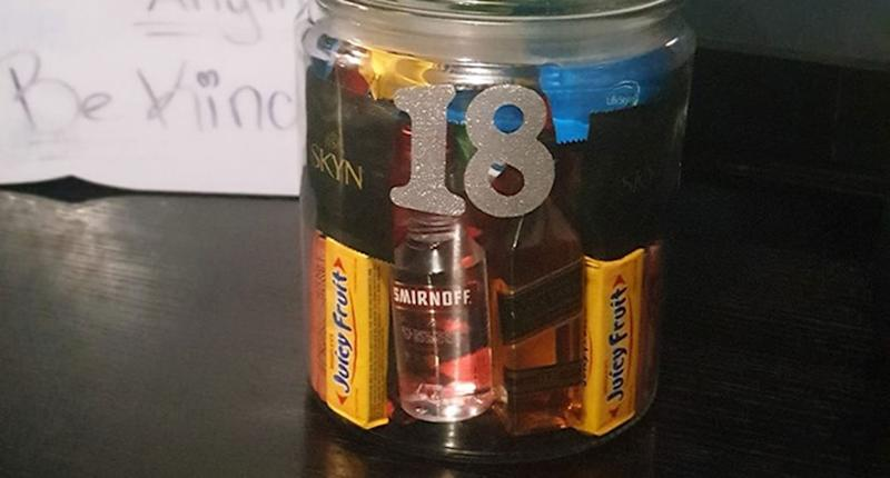 A Sydney mum's 18th birthday gift to her son – a cookie jar filled with little bottles of alcohol, chewing gum and condoms – has sparked debate.