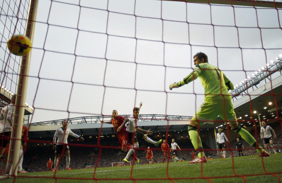 Liverpool's Skrtel scores a goal against Fulham during their English Premier League soccer match at Anfield in Liverpool
