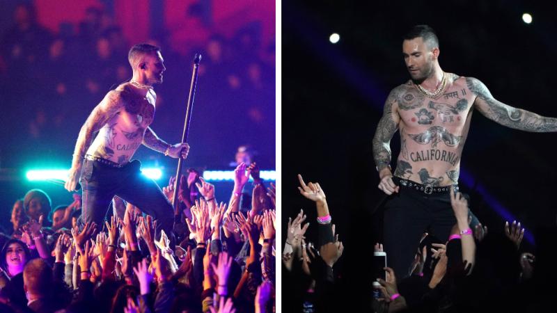 62afc9d6 Adam Levine likened to an 'awkward stripper' during Super Bowl performance