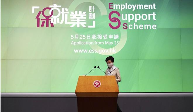 Carrie Lam has unveiled measures to help safeguard jobs. Photo: Robert Ng