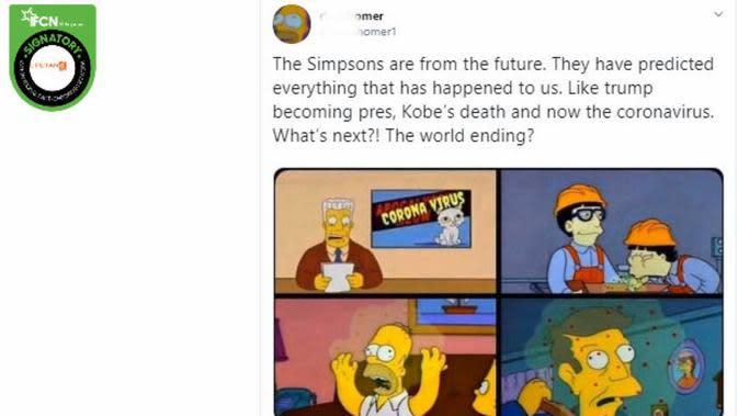 [Cek Fakta] Benarkah Serial Kartun The Simpsons Ramalkan Terjadinya Virus Corona? (Twitter)