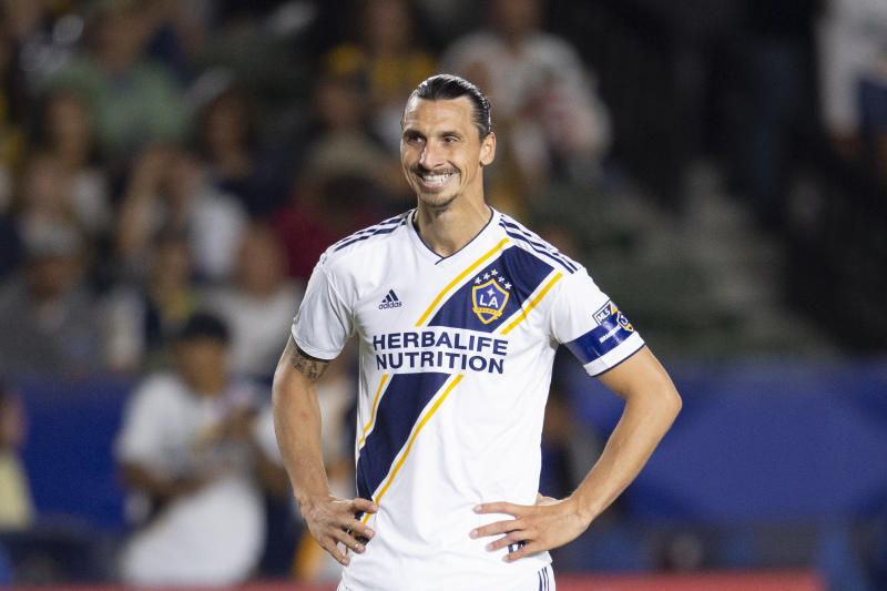 Jul 19, 2019; Carson, CA, USA; LA Galaxy forward Zlatan Ibrahimovic (9) reacts during the second half against the Los Angeles FC at Dignity Health Sports Park. Mandatory Credit: Kelvin Kuo-USA TODAY Sports
