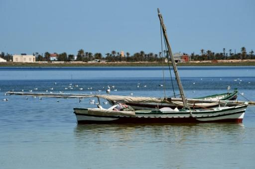 The fishing boat was found five nautical miles from Kerkennah island (pictured) and 16 nautical miles from the city of Sfax, the defence ministry said