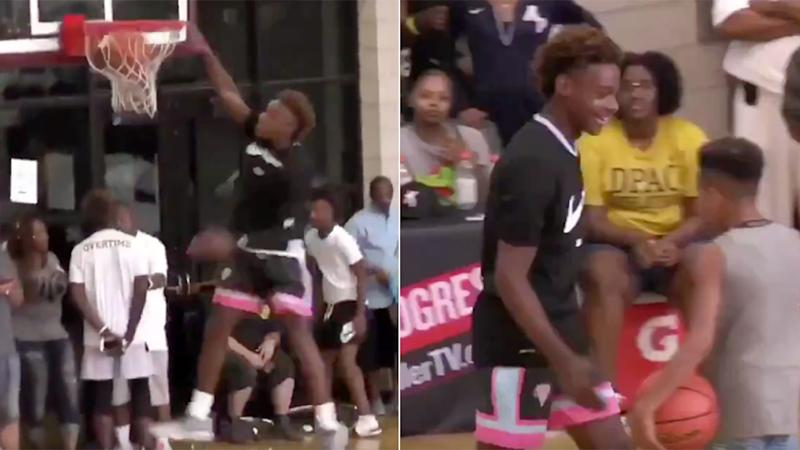 17ad1c63bf0 LeBron James Jr. making the first dunk of his career. Pic  Slam