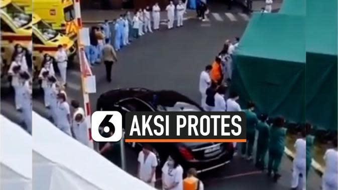 VIDEO: Petugas Medis Lakukan Aksi Buang Muka saat Perdana Menteri Belgia Datang