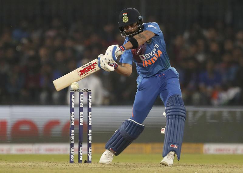 India's captain Virat Kohli bats during the second Twenty20 international cricket match between India and Sri Lanka in Indore, India, Tuesday, Jan. 7, 2020. (AP Photo/Aijaz Rahi)