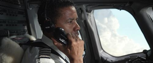 """This film image released by Paramount Pictures shows Denzel Washington portraying Whip Whitaker in a scene from """"Flight."""" (AP Photo/Paramount Pictures)"""