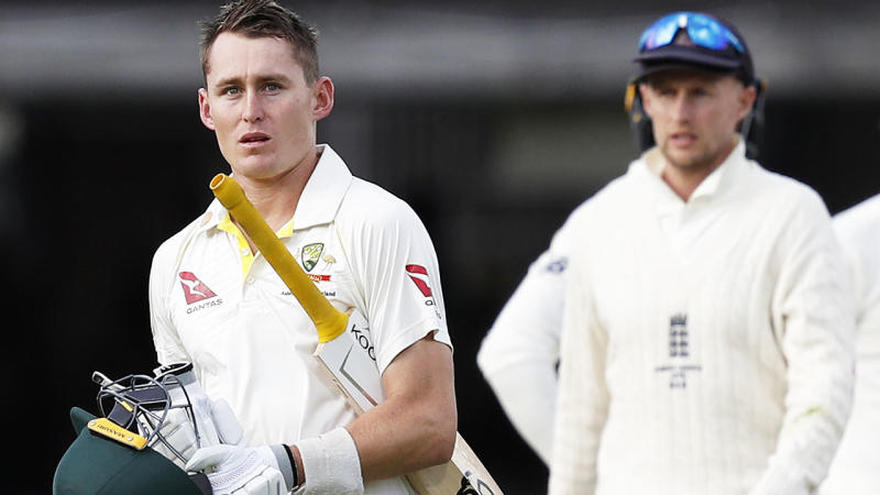 Marnus Labuschagne, pictured here after the controversial dismissal. (Photo by ADRIAN DENNIS/AFP/Getty Images)