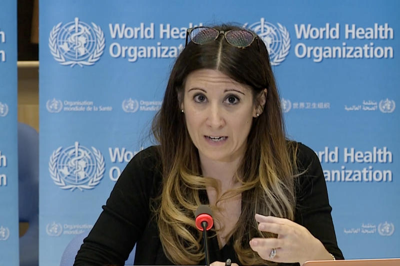A TV grab taken from a video released by the World Health Organization (WHO) shows WHO Technical Lead Maria Van Kerkhove attending a virtual news briefing on COVID-19 (novel coronavirus) from the WHO headquarters in Geneva on April 6, 2020. - The WHO said on April 6, 2020 that facemasks could be justified in areas where hand-washing and physical distancing were difficult, as it teamed up with Lady Gaga to launch a giant coronavirus awareness concert. (Photo by - / AFP) (Photo by -/AFP via Getty Images)