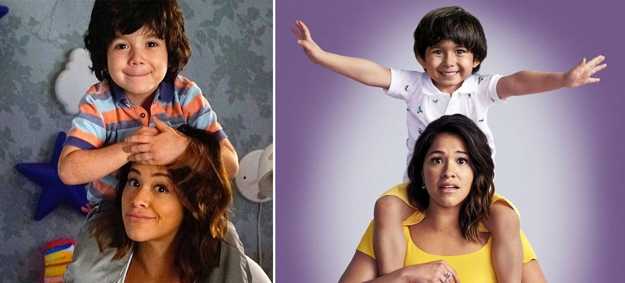 """<p>There wouldn't have been <em><a href=""""https://www.cosmopolitan.com/entertainment/tv/a28578269/petra-solano-jane-the-virgin-spin-off/"""" target=""""_blank"""">Jane the Virgin</a></em> without Jane's little bundle of joy, her son Mateo (who was the result of her accidental insemination?!). The season 4 poster donned a new face to the character Mateo, played by Elias Janssen. The role was previously played by Joseph Sanders, who simply was too busy with school to continue with the show. Homework, people!!</p>"""