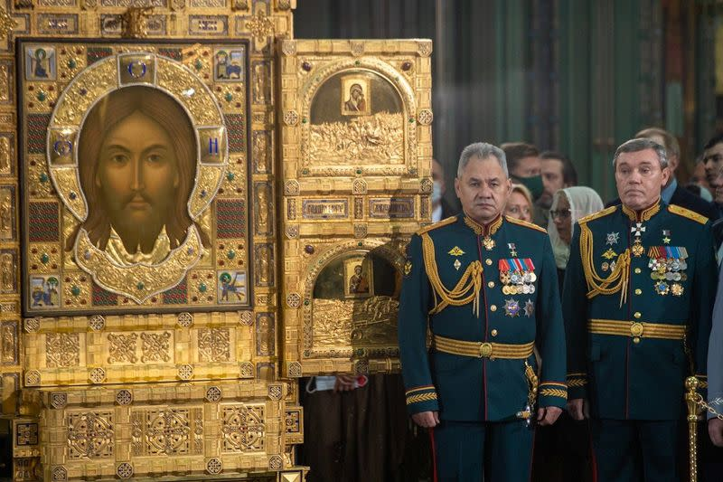 Service consecrating the new Resurrection of Christ Cathedral, outside Moscow
