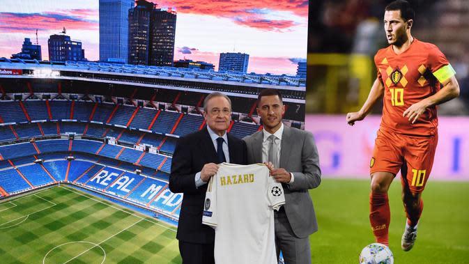 Eden Hazard saat diperkenalkan sebagai pemain baru Real Madrid (AFP/Gabriel Bouys)