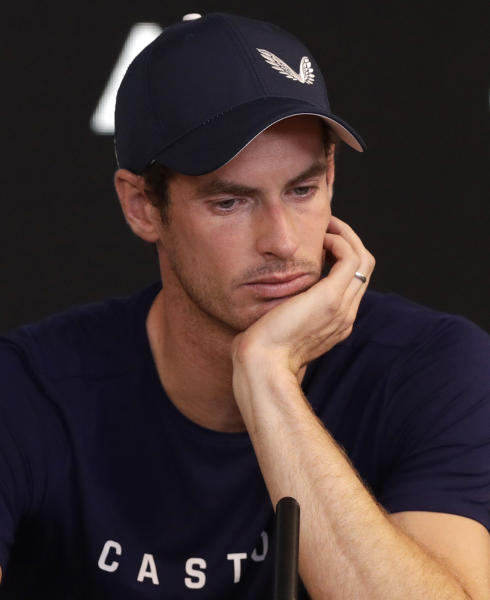 Britain's Andy Murray reacts during a press conference at the Australian Open tennis championships in Melbourne, Australia, Friday, Jan. 11, 2019. A tearful Murray says the Australian Open could be his last tournament because of a hip injury that has hampered him for almost two years.(AP Photo/Mark Baker)