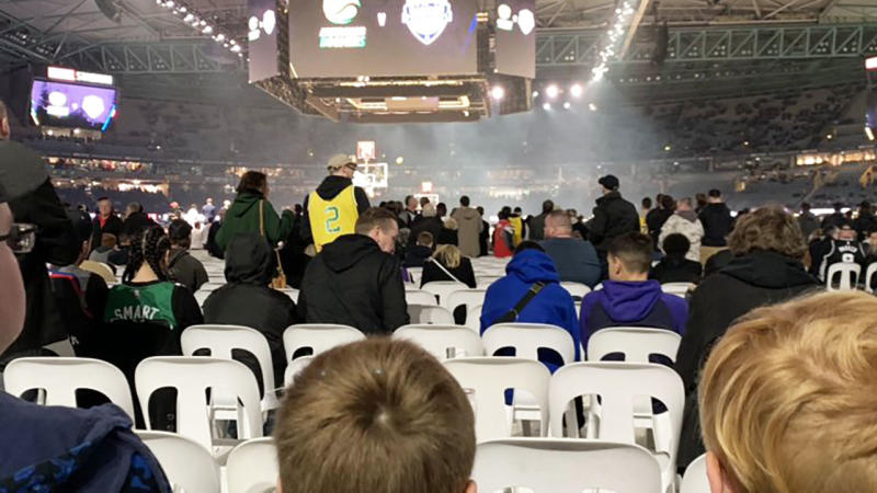 Seats that were below the level of the court drew the ire of basketball fans at Marvel Stadium.