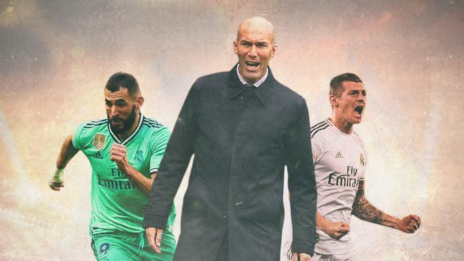 Real Madrid - Zinedine Zidane, Karim Benzema, Toni Kroos (Bola.com/Adreanus Titus)