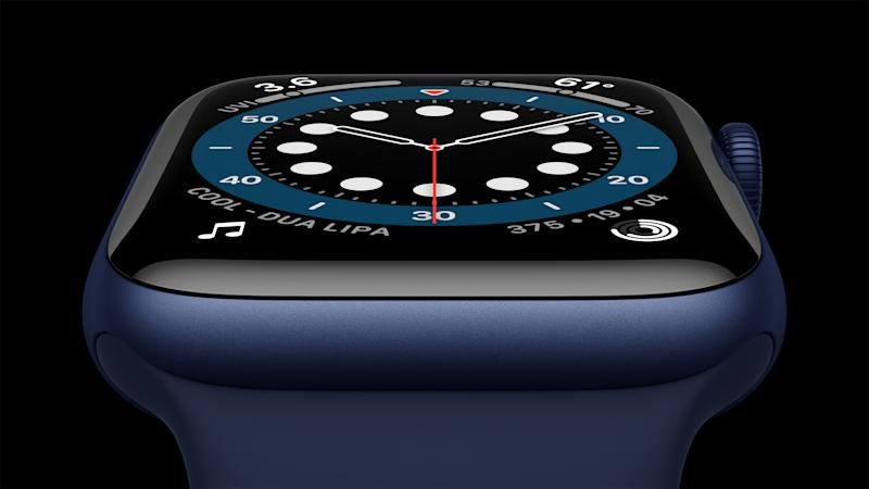 Apple Watch Series 6 in Aluminum Blue Case close-up. (PHOTO: Apple)