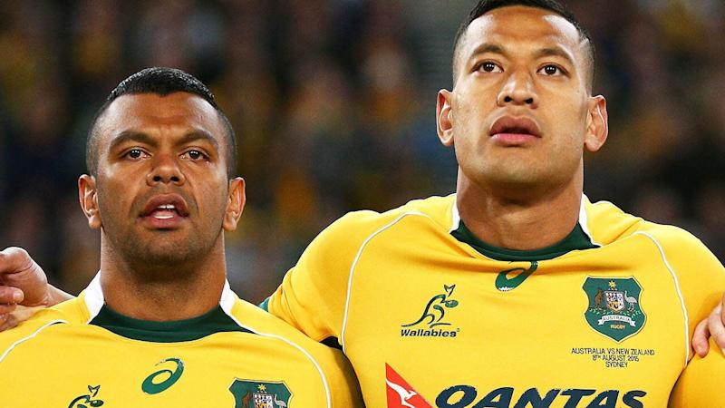 Kurtley Beale and Israel Folau in 2015. (Photo by Cameron Spencer/Getty Images)