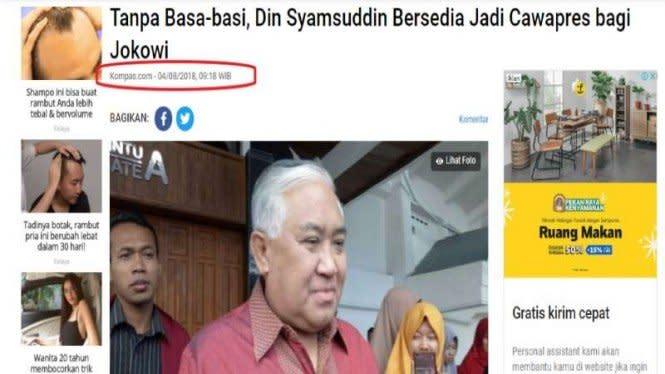 Din Syamsuddin Bertujuan Ingin Geser Ma'ruf Amin, Cek Faktanya