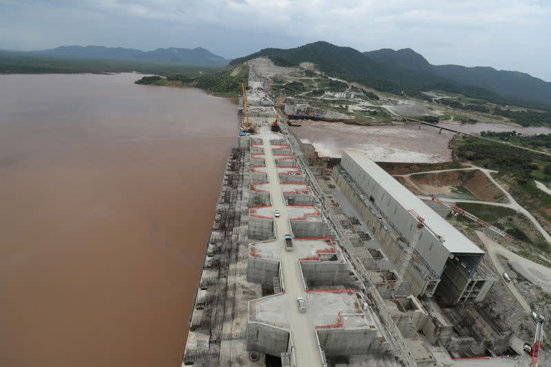FILE PHOTO: Ethiopia's Grand Renaissance Dam is seen as it undergoes construction work on the river Nile in Guba Woreda