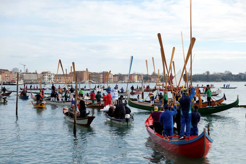 Boat protesters in Venice take on damage from big ships