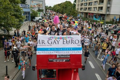 A gay pride parade was held to coincide with this year's edition of Mr Gay Europe in Poland and notably drew a couple of hundred protesters