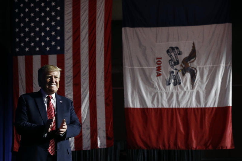 In this June 11, 2019, photo, President Donald Trump arrives to speak at the Republican Party of Iowa's annual dinner in West Des Moines, Iowa, Tuesday. Few states have changed politically with the head-snapping speed of Iowa. (AP Photo/Patrick Semansky)