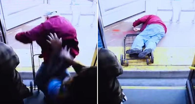 The man gets shoved off the bus. He later died from his injuries. Source: Las Vegas Metropolitan Police Department