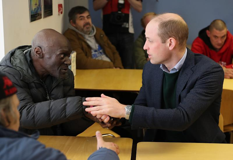 The Duke of Cambridge during a visit to the Beacon Project, a day centre which gives support to the homeless, excluded and marginalized in Mansfield, Nottinghamshire.