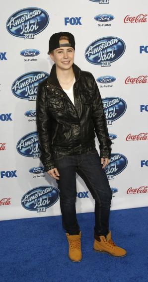 "Nobilette poses at the party for the finalists of ""American Idol XIII"" in West Hollywood"