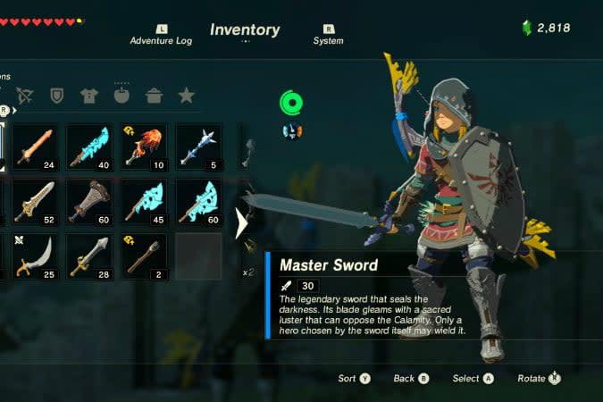 the legend of zelda breath wild best weapons master sw