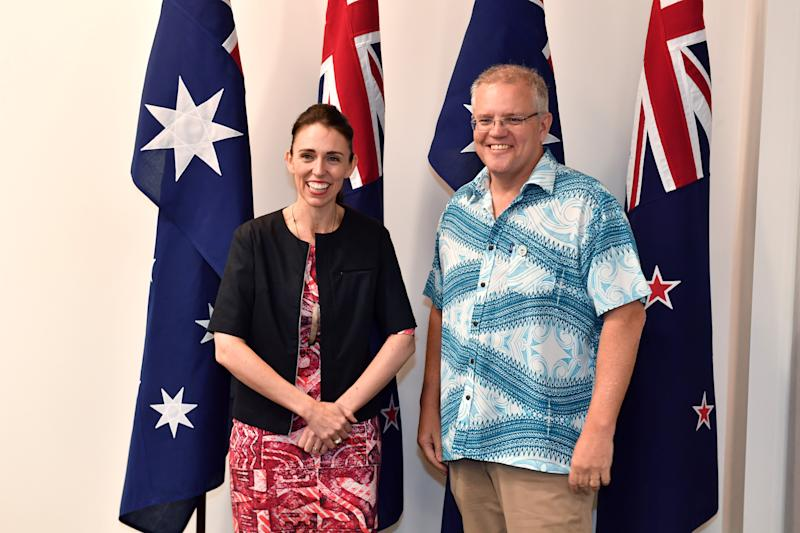 New Zealand's Prime Minister Jacinda Ardern meets with Australia's Prime Minister Scott Morrison for a bilateral meeting during the Pacific Islands Forum in Funafuti, Tuvalu, Wednesday, August 14, 2019. (AAP Image/Mick Tsikas) NO ARCHIVING