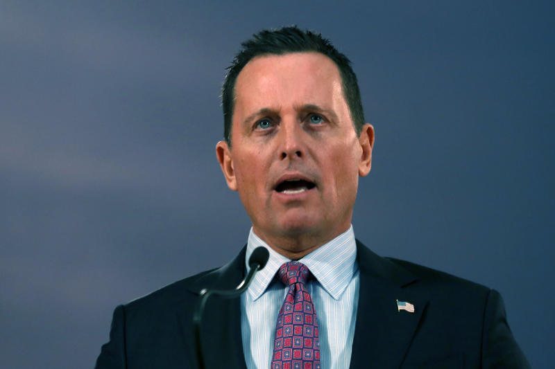 FILE - In this Jan. 24, 2020, file photo, then-U.S. President Donald Trump's envoy for the Kosovo-Serbia dialogue, Ambassador Richard Grenell speaks during a news conference after a meeting with Serbian President Aleksandar Vucic in Belgrade, Serbia. (AP Photo/Darko Vojinovic, File)