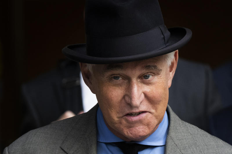 FILE - In this Nov. 12, 2019, file photo Roger Stone leaves federal court in Washington. A federal prosecutor is prepared to tell Congress on Wednesday, June 24, 2020, that Stone, a close ally of President Donald Trump, was given special treatment ahead of his sentencing because of his relationship with the president.  (AP Photo/Manuel Balce Ceneta, File)