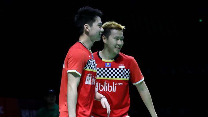 Ganda putra Indonesia Kevin Sanjaya/Marcus Gideon memenangkan Fuzhou China Open 2019. (Dok PBSI)