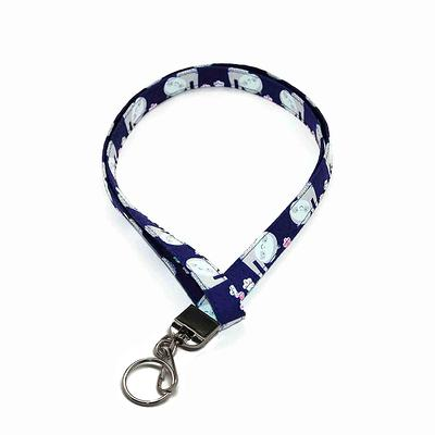 Purple Lanyard Fabric ID Badge Holder for your Name Tag Keys Break Away Option Pink and Blue Polka dots Neck Strap